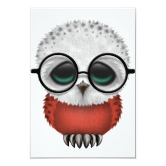 Customizable Nerdy Polish Baby Owl Chic 9 Cm X 13 Cm Invitation Card