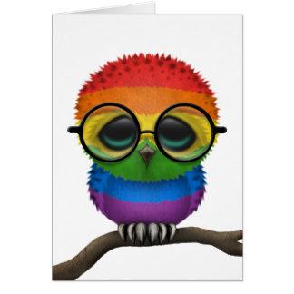 Customizable Nerdy Rainbow Gay Pride Baby Owl Chic Card