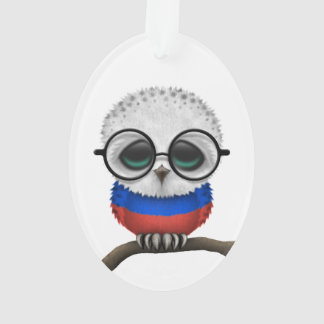 Customizable Nerdy Russian Baby Owl Chic Ornament