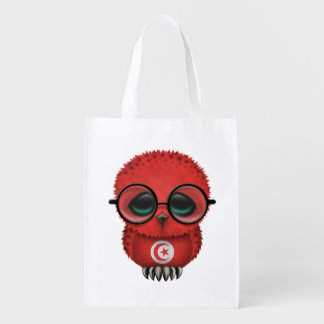 Customizable Nerdy Tunisian Baby Owl Chic Reusable Grocery Bag