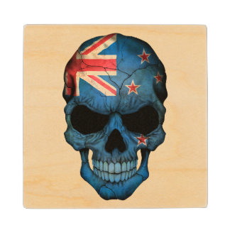 Customizable New Zealand Flag Skull Wood Coaster