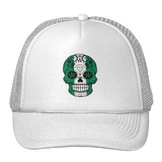 Customizable Nigerian Flag Sugar Skull with Roses Trucker Hats