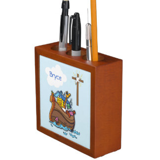 Customizable Noah's Ark Baby Baptism, Boy Blue Desk Organiser