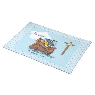 Customizable Noah's Ark Baby Baptism, Boy Blue Placemat