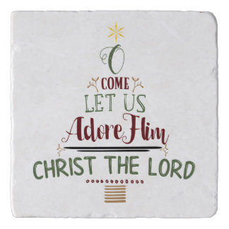 CUSTOMIZABLE O Come Let Us Adore Him Trivet