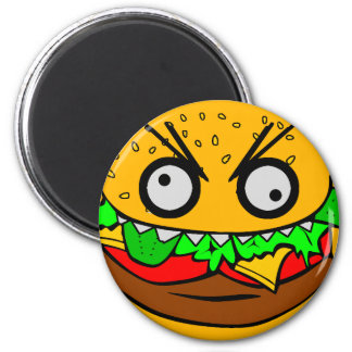 customizable om nom nom burger with teeth face 6 cm round magnet