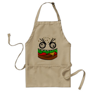 customizable om nom nom burger with teeth face adult apron