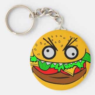 customizable om nom nom burger with teeth face basic round button key ring
