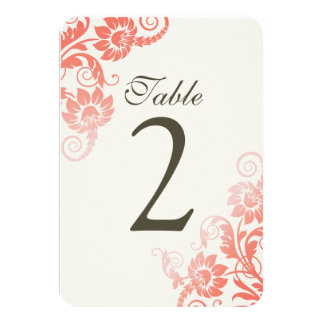Customizable Ombre Coral Table Number Cards 9 Cm X 13 Cm Invitation Card
