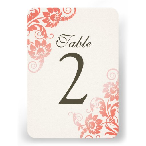 Customizable Ombre Coral Table Number Cards