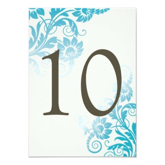 Customizable Ombre Teal Table Number Cards 11 Cm X 16 Cm Invitation Card