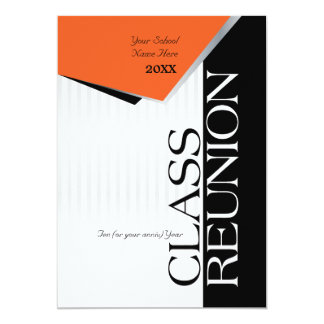Customizable Orange and Black Class Reunion 13 Cm X 18 Cm Invitation Card