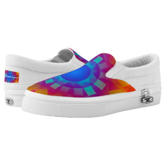 Customizable Orange and Blue Crystal ZIPZ Slip On Shoes