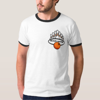 Customizable orange theme bowling team guys tee