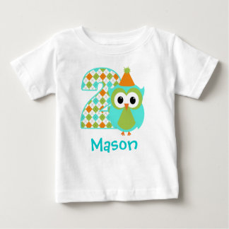 Customizable Owl Boy Second birthday shirt 2 years