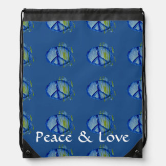 Customizable Painted peace sign Drawstring Bag