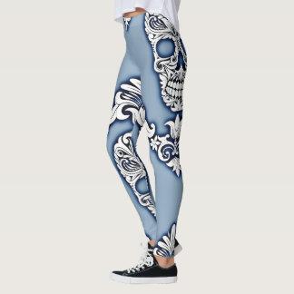 customizable paisley skull womens leggings