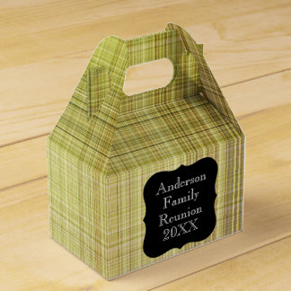 Customizable Pale Green Plaid Family Reunion Party Favour Box