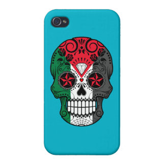 Customizable Palestinian Sugar Skull with Roses Cover For iPhone 4