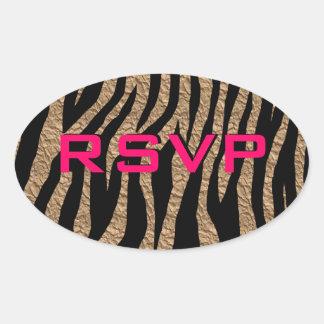 Customizable Parchment Zebra Oval Sticker