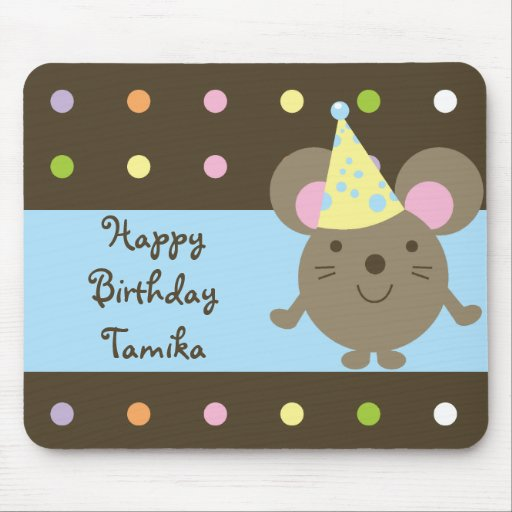 Customizable Party Mouse Happy Birthday Mousepad