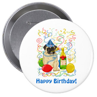 Customizable Party Pug Celebration Tees and Gifts 10 Cm Round Badge