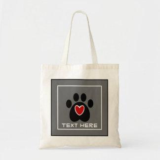 Customizable Paw Print and Heart Bag