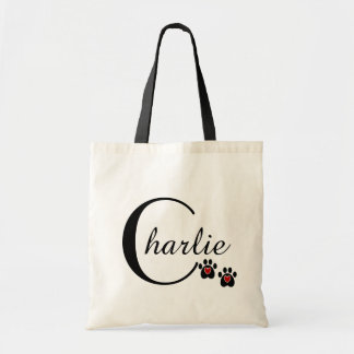 Customizable Paw Print and Hearts Budget Tote Bag