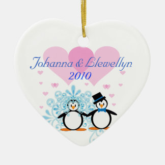 Customizable Penguin Couple Christmas Ornament