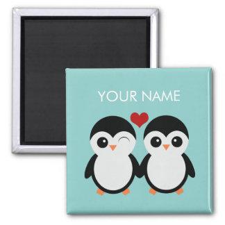 Customizable penguin couple magnet