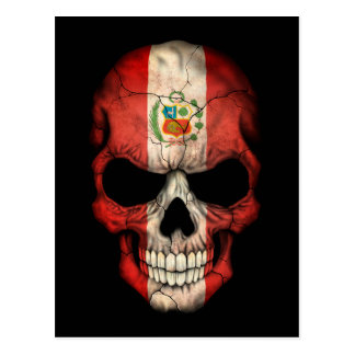 Customizable Peruvian Flag Skull Postcard