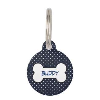 Customizable pet tag navy blue with dog bone