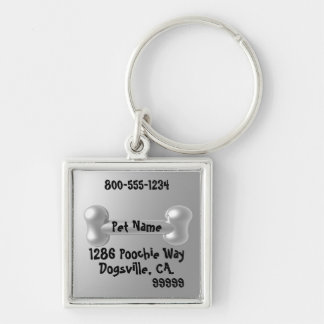 Customizable Pewter look 3D Dog ID tag Silver-Colored Square Key Ring