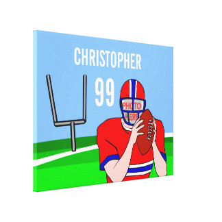 Customizable photo and name football grid iron canvas prints