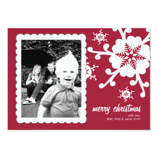 Customizable Photo Christmas Card - Cheery Red