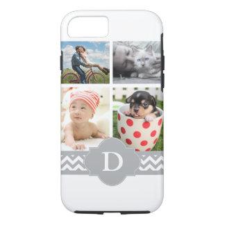 Customizable Photo Collage Grey Chevron Monogram iPhone 8/7 Case