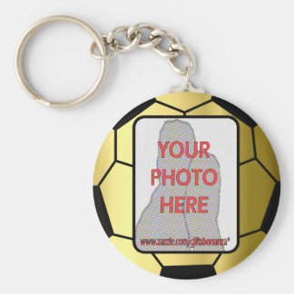 Customizable Photo Golden Soccer Ball Basic Round Button Key Ring