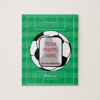 Customizable photo soccer ball jigsaw puzzle