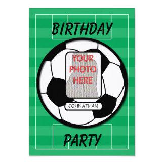 Customizable photo soccer ball party 13 cm x 18 cm invitation card