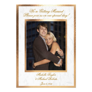 Customizable Photo Wedding Invitation Gold Trim
