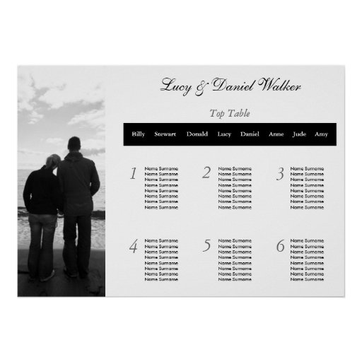 Customizable Photograph Wedding Seating Table Plan Posters