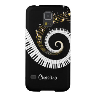 Customizable Piano Keys and Gold Music Notes Case For Galaxy S5