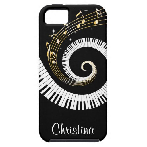 Customizable Piano Keys and Gold Music Notes iphon iPhone 5 Case