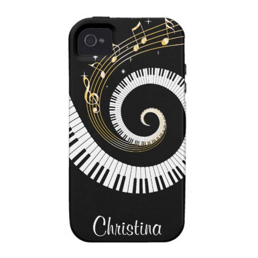 Customizable Piano Keys and Gold Music Notes iphon iPhone 4/4S Case