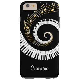 Customizable Piano Keys and Gold Music Notes Tough iPhone 6 Plus Case
