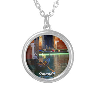 Customizable Picture of Moving Gondolas Silver Plated Necklace