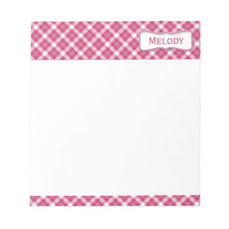 Customizable Pink and White Plaid Notepads