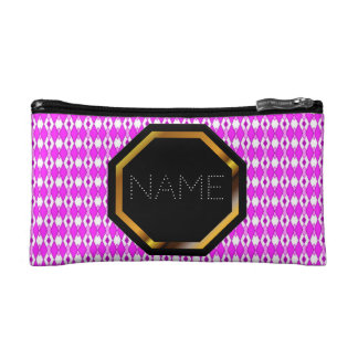 Customizable Pink Argyle Cosmetics Bag