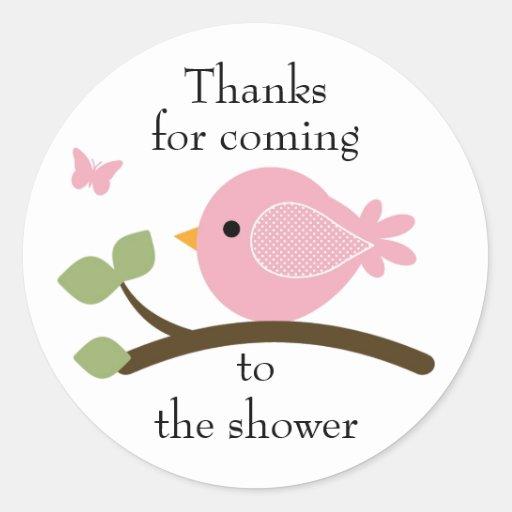 Customizable pink bird round sticker