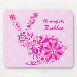 Customizable Pink Flower Rabbit Mouse Mat